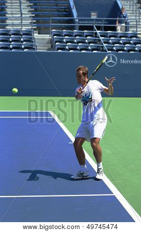 Professional tennis player Richard Gasquet practices for US Open 2013 at Grandstand Stadium