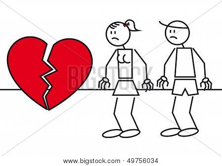 Stick Figures Heart Break