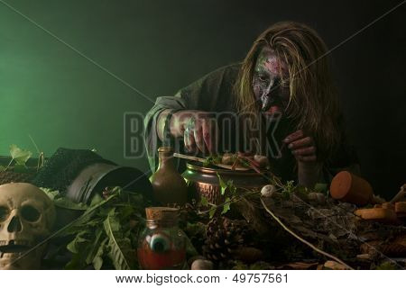 Witch Operates In A Alchemy Lab