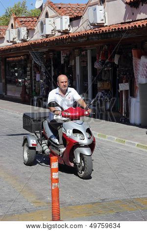 A three wheeler mode of transport in Turkey