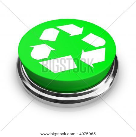 Recycle Symbol - Green Button