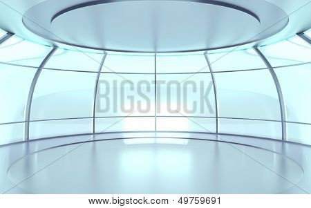 futuristic hall with glass walls