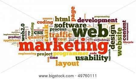 Web marketing concept in word cloud on white background