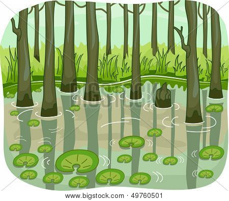 Illustration of a Swamp with Lotus Leaves Floating Around