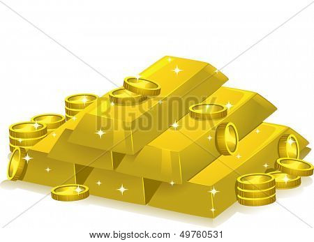 Illustration Featuring Gold Bars and Coins