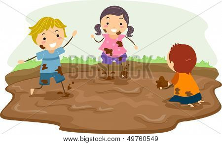Stickman Illustration Featuring Kids Playing in the Mud