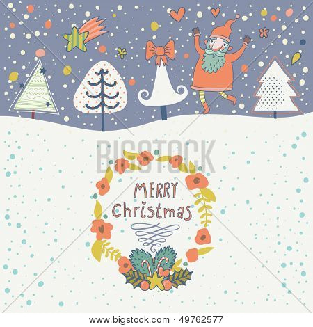 Cartoon Christmas and New Year background in vector. Cute holiday card with funny Santa, snowflakes, trees and textbox