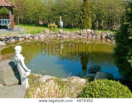 Classical Beautiful Summer Garden Fish Pond