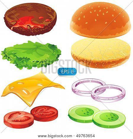 Sandwich elements. Fastfood Vector hamburger illustration