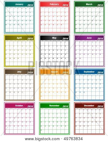 Calendar 2014 Assorted Colors