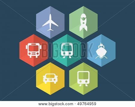 Flat design transport icons in editable vector format