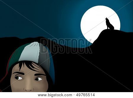 Frightened Girl In Dark Night