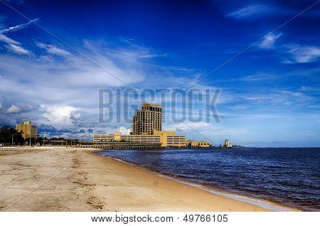 Biloxi, Mississippi, casinos and buildings along Gulf Coast shore