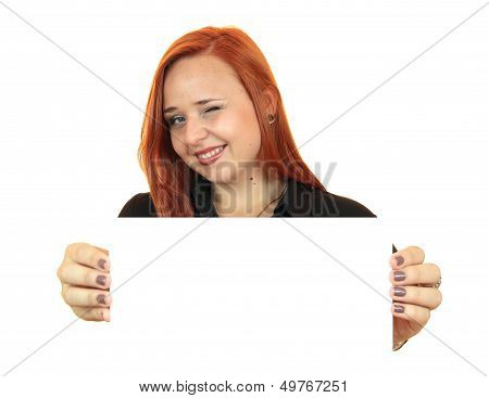 Portrait of a beautiful young woman holding up copy space