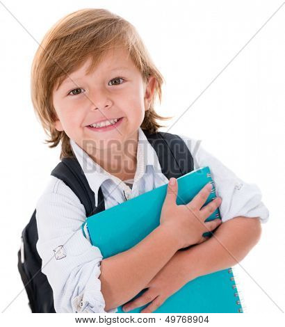 Happy kid going back to school - isolated over white background