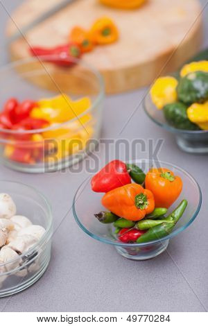 Close up of a bowl with various pimentos