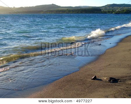 Sandy Shore Of Lake Taupo At Sunset, New Zealand