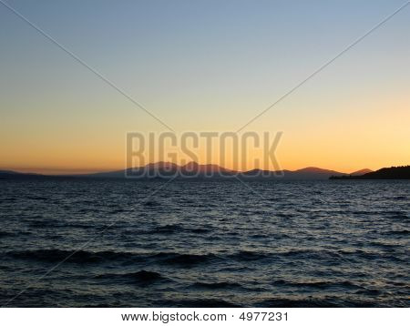 Lake Taupo At Sunset, New Zealand