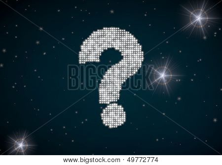 3D Graphic Of A Unclear Question Symbol Glittering On Night Sky