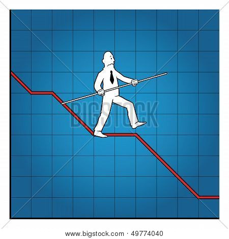 Business man balancing on declining graph