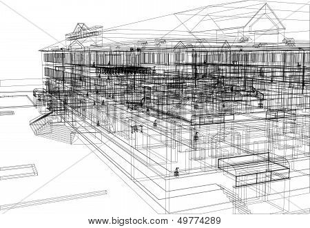 Abstract archticture. Wire-frame building on the white background