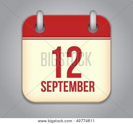 Vector calendar app icon. 12 september