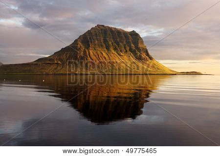 Extinct Volcano In Iceland. Mount Kirkjufell In The Snaefellsnes Peninsula, Iceland.