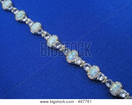 Jewelry Bracelet On Blue Background