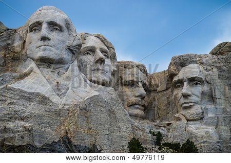 Mount Rushmore close up President Washington, Teddy Roosevelt, Thomas Jefferson, Abraham Lincoln