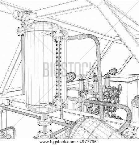 Wire-frame industrial equipment on the white background