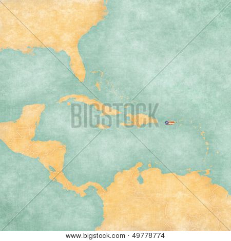 Map Of Caribbean - Puerto Rico (vintage Series)