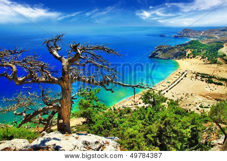 fantastic beaches of Greece - Tsambika bay on Rhodes island