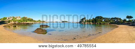 Ploumanach Panorama, Rocks And Bay Beach In Morning, Brittany, France.