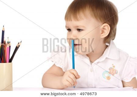 Child With Blue Crayon Think About Drawings
