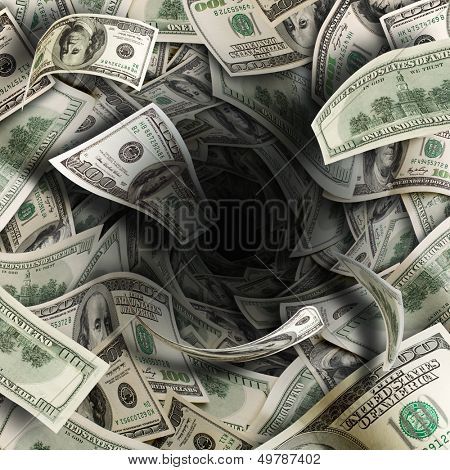 Tunnel of $100 dollar bills