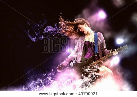 Rock passionate girl with black wings