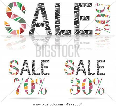 Various Sale Discount Made By Fraction Of Colorful Paper