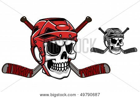 Skull in ice hockey helmet
