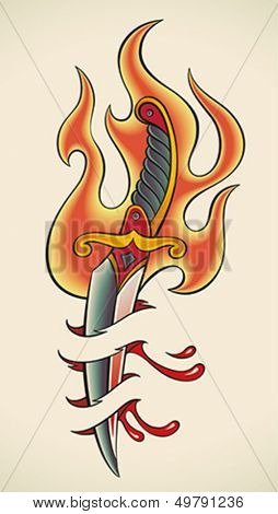 Old-school styled tattoo of a flaming dagger and bleeding flesh. Editable vector illustration.