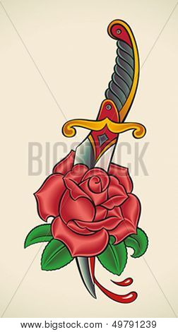 Old-school styled tattoo of a dagger through rose. Editable vector illustration.