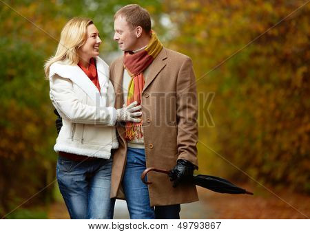 Portrait of affectionate couple taking a walk in autumnal park