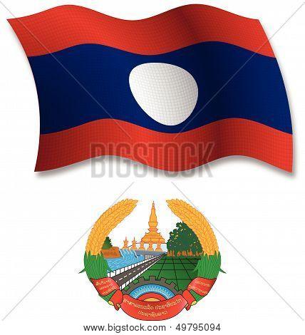 Laos Textured Wavy Flag Vector