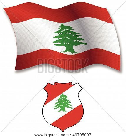 Lebanon Textured Wavy Flag Vector