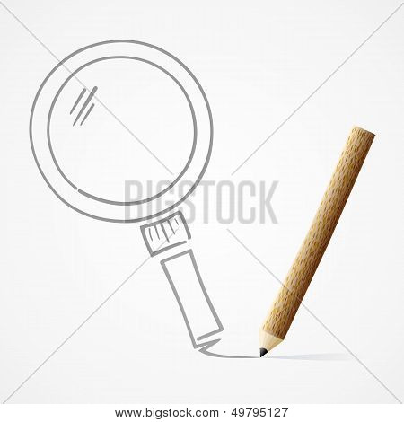 Pencil Drawing Magnifying Glass
