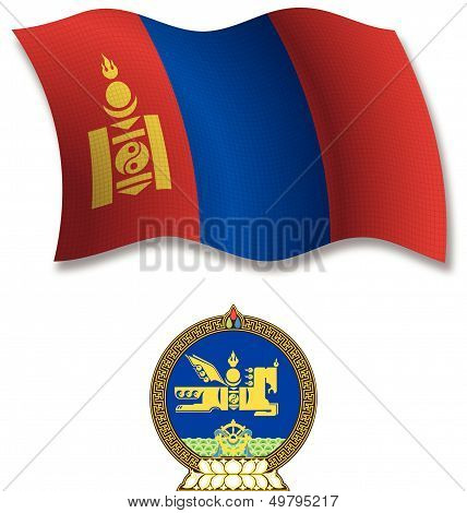 Mongolia Textured Wavy Flag Vector