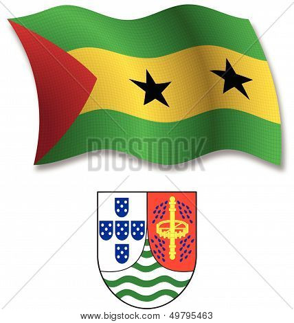 Sao Tome And Principe Textured Wavy Flag Vector