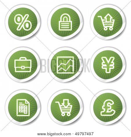 E-business web icons, green  stickers