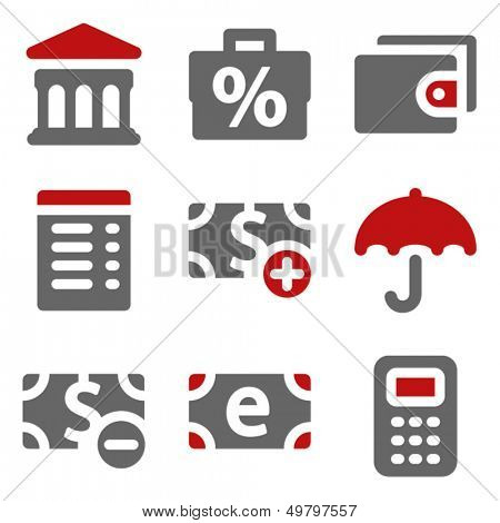 Finance web icons set 2, dark red and grey