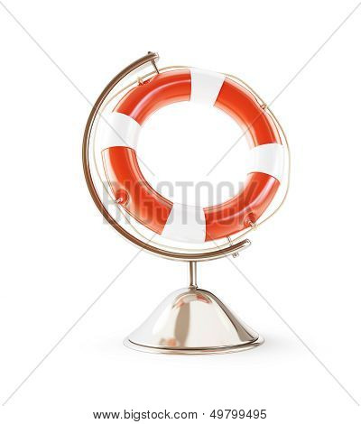 lifebelt globe 3D Illustrations On A White Background
