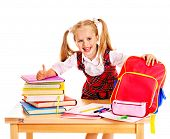 image of knapsack  - Child with school supplies and book - JPG